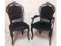 Black French Style Dining Set ,2xFrench Style Carver Chairs 4 French Style Chairs
