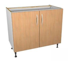 1000mm Complete Kitchen Base Unit - Modern Oak Slab - BRAND NEW
