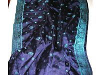 Dark blue-purple 100% silk fabric with trim
