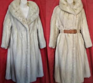 Small Petite MINK COAT Long Pearl Cream Silver White Short Sleeves Vintage Real FUR Warm Winter Free belt Womens 8P