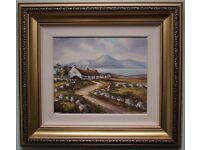 Original Oil Painting MOURNE MOUNTAINS & COTTAGES Irish Art by RW YOUNG