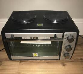Andrew james mini oven with twin electric hobs