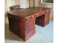 New Solid Mahogany Partners Desk With Leather Insert Top.