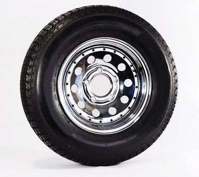 2-Pk Radial Trailer Tire Rim ST175/80R13 Load C 5 Lug Chrome Modular w/Rivets
