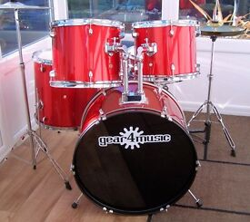 COMPLETE 5 PIECE DRUM KIT - in Red Metallic/Glitter wrap