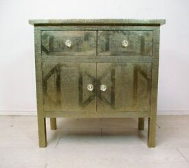 Beautiful fully hand stenciled aluminium on solid wood chest of drawers