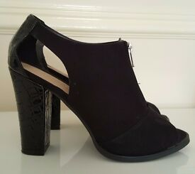 Excellent/As New Cond. - Black with Silver Zip Detail Peep-Toe Shoe Boots Size 7 (Worn Once)