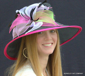 NEW-Womens-ORGANZA-Kentucky-Derby-Hat-With-Multicolored-Petals-STUNNING