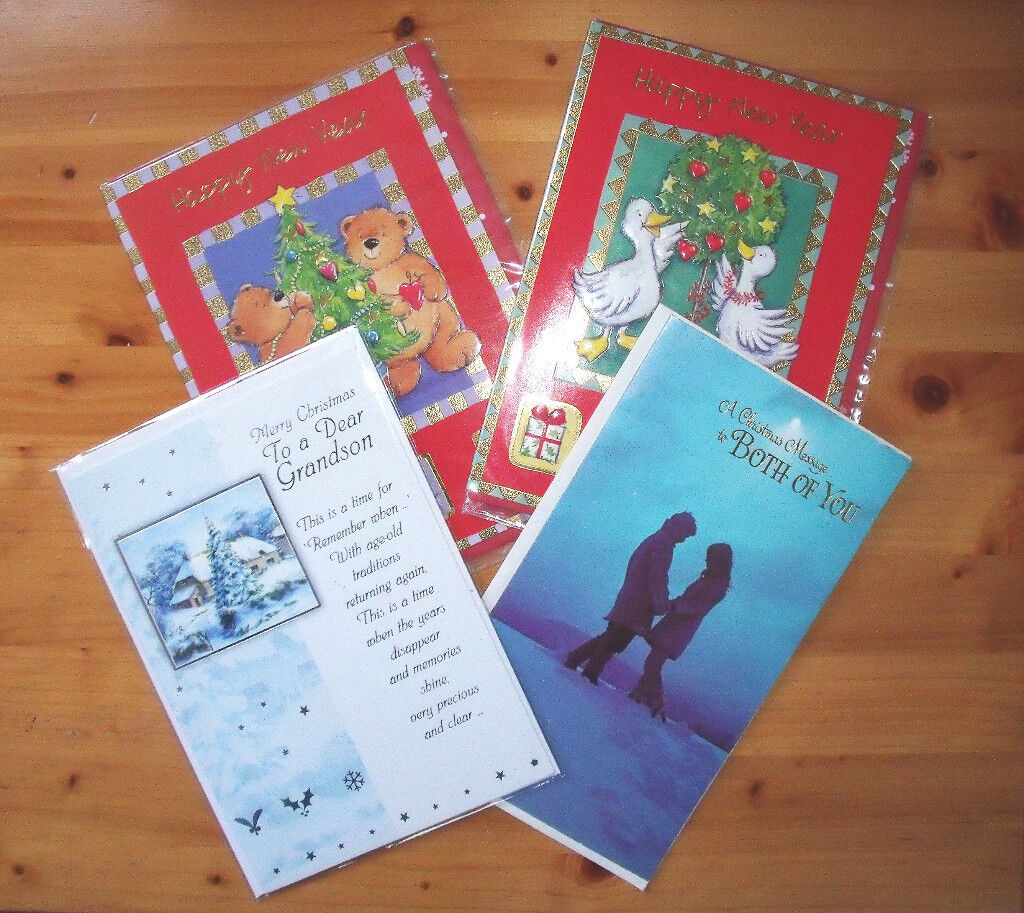 ** NEW ** 4 (2 of each) Christmas (Grandson & Both of You) and New Year Cards.