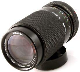 MIRANDA 70-210mm f4.5-5.6 ZOOM CAMERA LENS Pentax PK fit manual focus film or digital