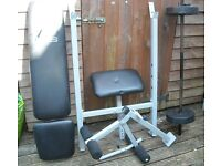 Gym equipment. Bench and weights.