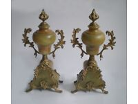 2 Antique French clock stands / garniture, lime green marble and brass, c 1880