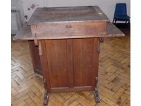 ANTIQUE HEAD MASTERS DESK WITH INK WELLS