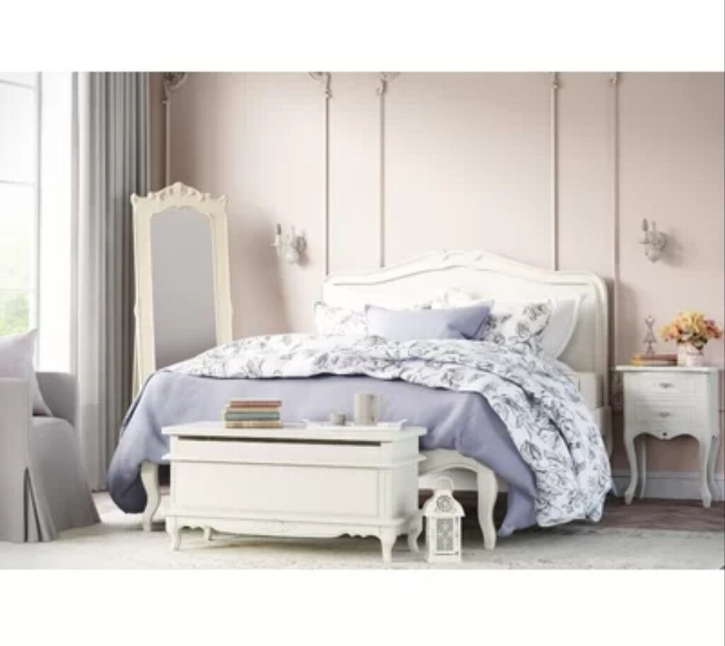Unboxed White French Style King Size Wooden Bed Frame