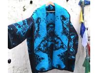 Cheetah face blue faux fur coat vintage