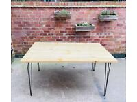 Scaffold board table - dining room / office / crafting desk hand made from reclaimed recycled wood