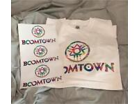 Boomtown tshirt and stickers