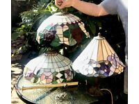 3 x Tiffany Style Leaded Shades/Fittings Inc Art Nouveau Lilly Table Lamp Stand.