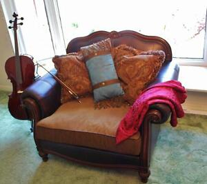 """Elegant large ox-blood leather """"chair and a half"""" x 2"""