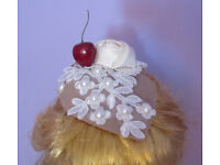 Handmade Ascot teardrop pearl cherry flower lace applique fascinator hat. Fastening is by 2 clips