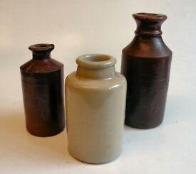 Stoneware bottles x 3