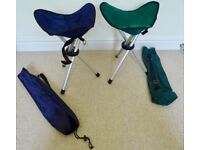 Folding Camping 2 x (Easy Carry) Stools - In Excellent Condition