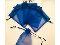 10x Royal Blue Drawstring Pouches/Bags (Gift, Jewellery, Wedding, Party, Candy)