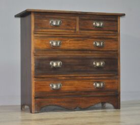 Attractive Large Antique Edwardian Mahogany Chest Of Five Drawers