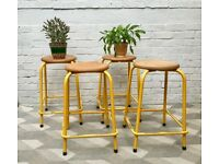 Set of 4 Vintage Stools Metal Stacking Yellow #754