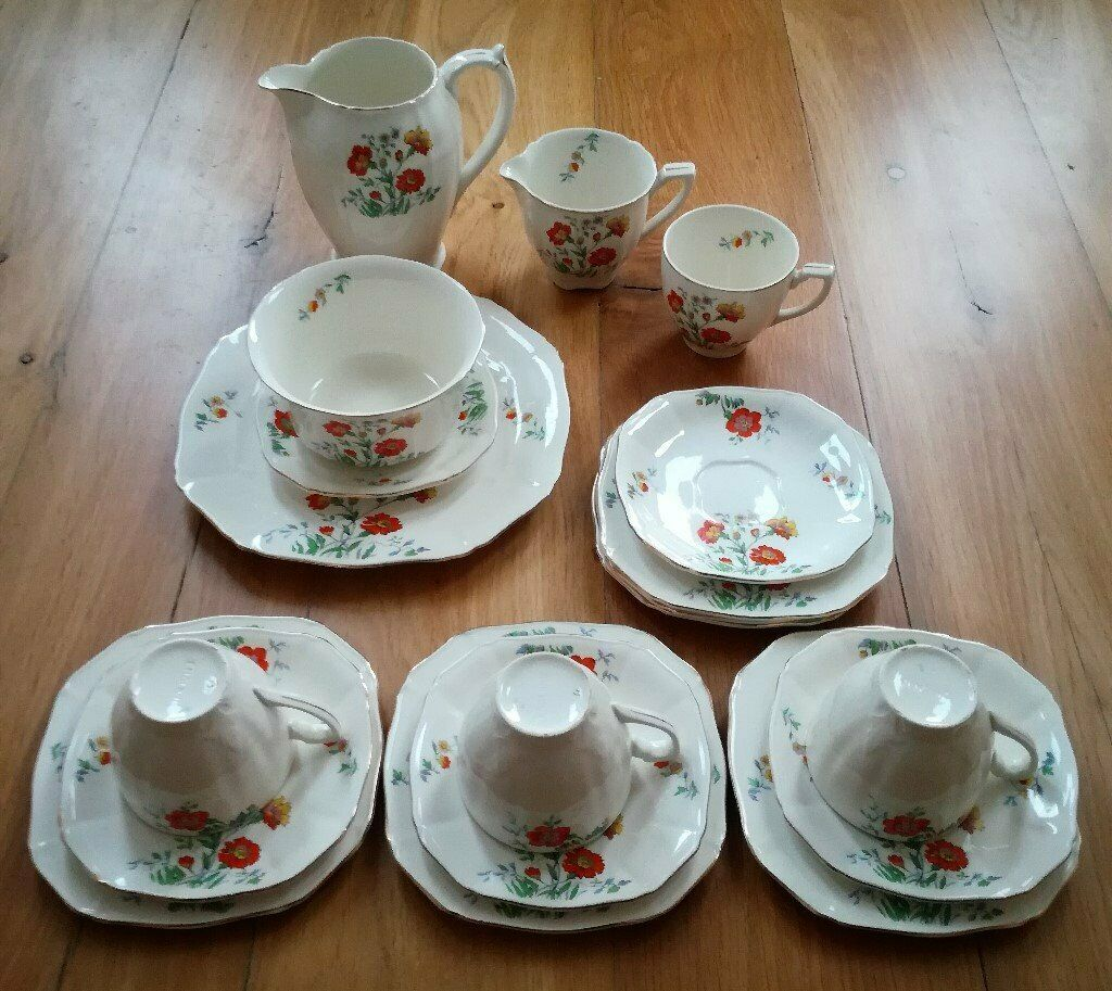 Pottery, Porcelain & Glass Alfred Meakin 4 Cups And Saucers Gold Leaf And Flower Alfred Meakin