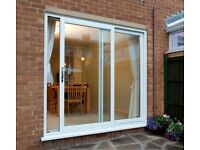 Used Sliding Patio Doors, White UPVC, includes glass and lock
