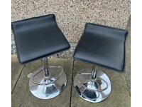 4 x black & chrome bar stools