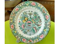 """Decorative """"Famile Rose"""" hand finished Chinese plate 10"""", with butterflies 4 character marks"""