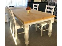 Stunning rustic shabby chic dining table and chairs