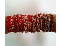 Red & gold large bangle set new