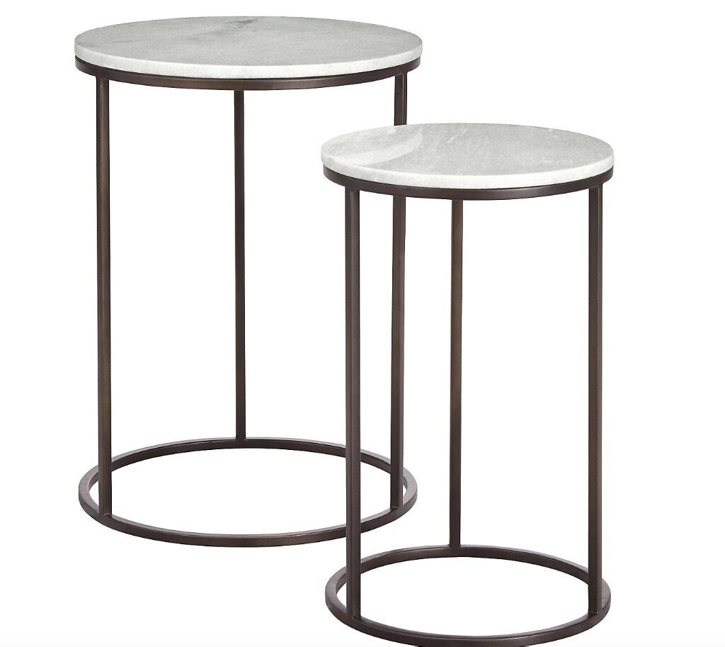Marks U0026 Spencer Conran Farley Nest Of Tables   White Marble Nested Side  Tables Part 70