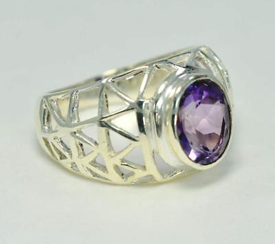 NATURAL PURPLE AMETHYST FEBRUARY BIRTHSTONE 925 STERLING  SILVER  RING #0090 MP3