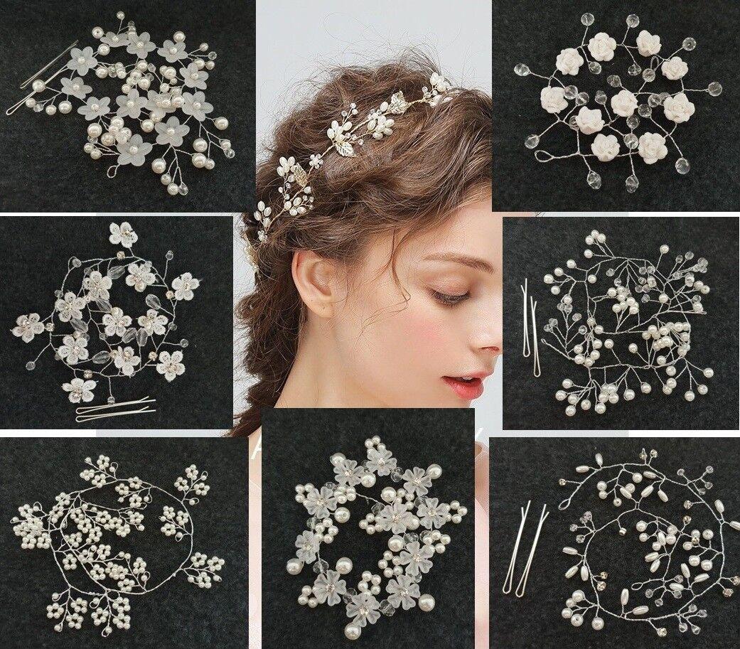 Haarschmuck Haarband Braut Haarkette Hochzeit Perlen Haardraht Handgearbeitet