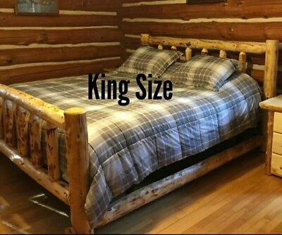 Log Bed! Beautiful and Sturdy! Half Log Side Rails with Mattress Beams! Rustic Pine Log Bed