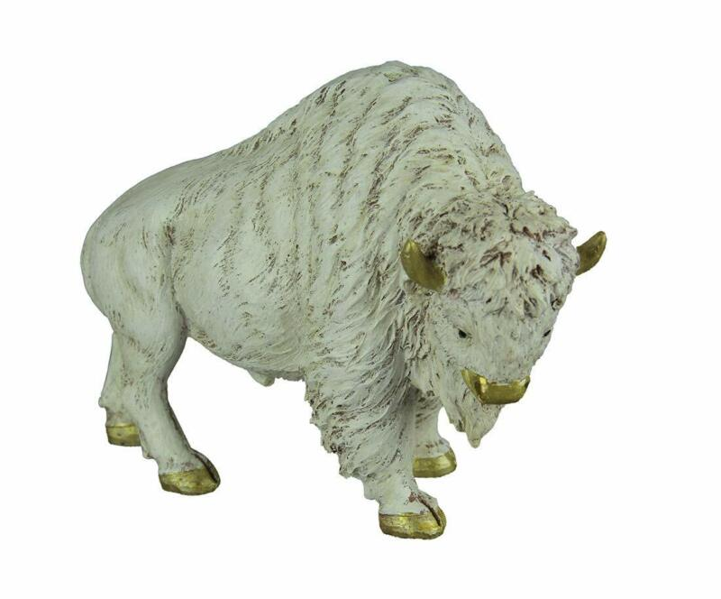 Resin Statues Gilt Accented White Buffalo Statue 8.5 X 6.5 X 3 Inches Off-White