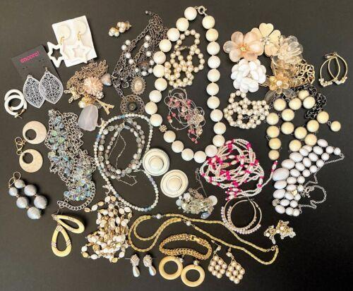Lot of Pearl Cream White Jewelry Statement Necklaces Repurpose Junk Bride DIY