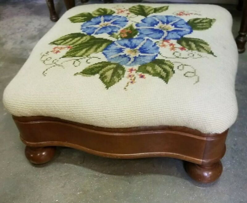 ANTIQUE Foot Stool Ottoman MAHOGANY Wood Country Primitive EMPIRE NEEDLEPOINT