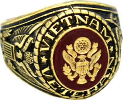 US Army Vietnam Veteran 18k Gold Plated Engraved Ring