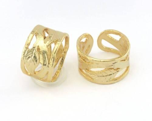 Leaf Ring Adjustable Gold Plated Brass (19mm 9US inner size) 2817