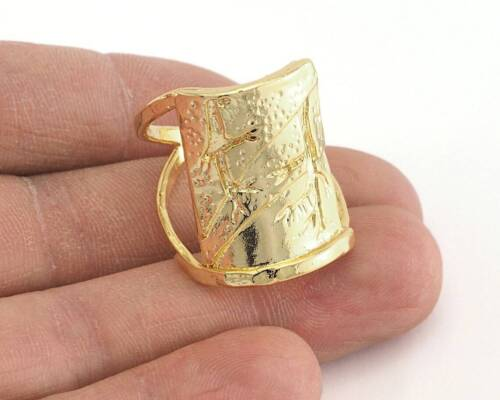 Tree Patterned Adjustable Ring Shiny Gold Plated Brass (19mm 9US size)  2586