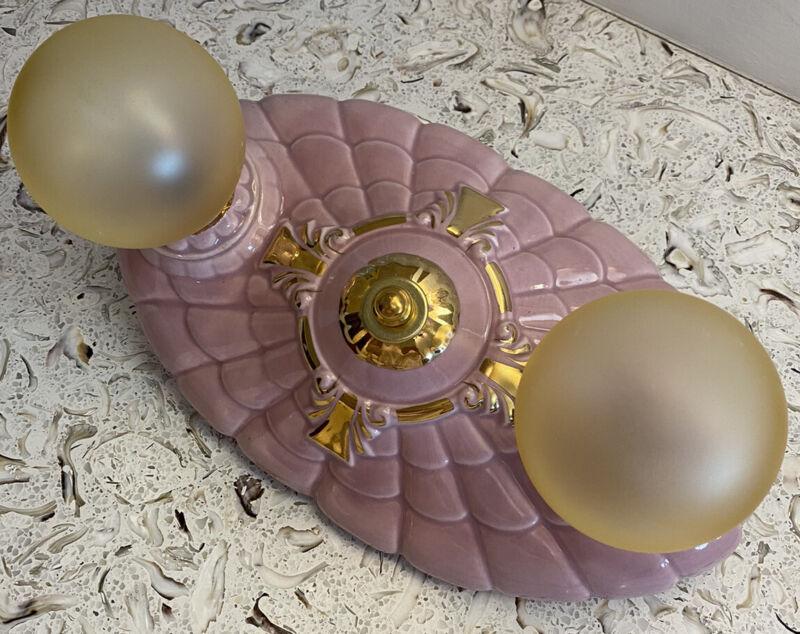 Antique Porcelier 2 Bulb Ceiling Light Fixture. Pink Lilac.  Gorgeous!