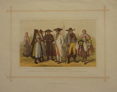 1882 PRINT RACES COSTUMES ~ NORTH GERMANS TEUTONS HANOVER BRUNSWICK POMERANIA