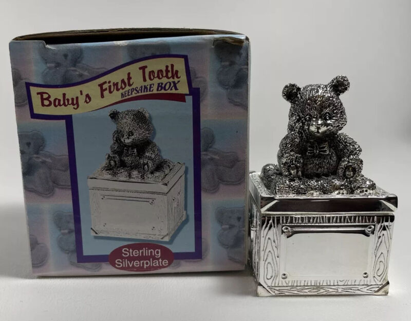 """Vintage """"FIRST TOOTH"""" Sterling Silverplate Teddy Bear Pill Box 2"""" x 2/3/4"""""""