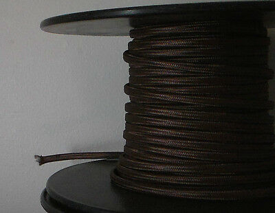 Brown Parallel Rayon Covered Wire Antique Vintage Style Cloth Lamp Lights Cord - Lights Clothing