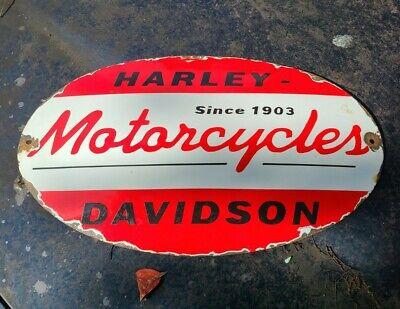 VINTAGE PORCELAIN HARLEY DAVIDSON MOTORCYCLE SERVICE SIGN Gasoline
